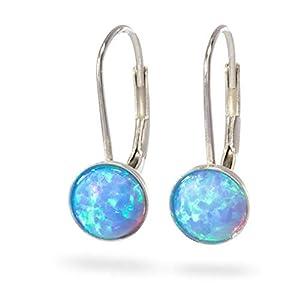 Opal Sterling Silber Leverback Haken Ohrringe Tropfen und baumeln Opal Silber Ohrringe blau Feueropal Gr??e 6mm
