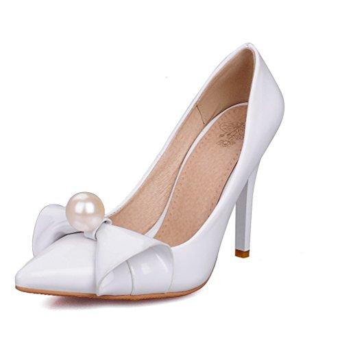AllhqFashion Femme Pointu Tire Verni Couleur Unie Stylet Chaussures Légeres Blanc