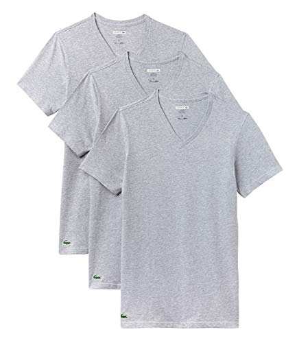 Lacoste 3-er Set Slim Fit T-Shirt mit V-Neck Weiss, Grau, M (Gr. Medium) (Lacoste Shirts Für Herren Slim Fit)