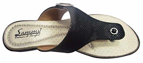 Sammy des femmes ouvertes de dames de confort string Wedge Sandal chaussures de sport Noir