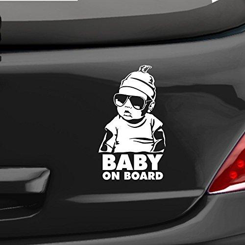 eDesign24 Autoaufkleber Hangover Baby on board Auto Aufkleber Sticker fährt mit ca. 18 x 22 cm weiß