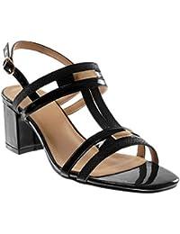 JITIAN Sandales Femmes Talons Hauts Bloc Chaussures Élégant Lacet Cheville Bout Rond Ouvert Sandale Marron 35