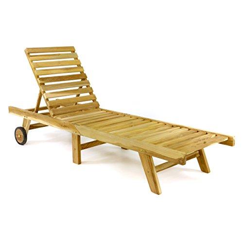 Divero DIVERO klappbare Sonnenliege Gartenliege Relaxliege Holzliege Liege aus unbehandeltem Teak-Holz 200x57x34 extra hohe und bis zur Liegeposition verstellbare Rückenlehne