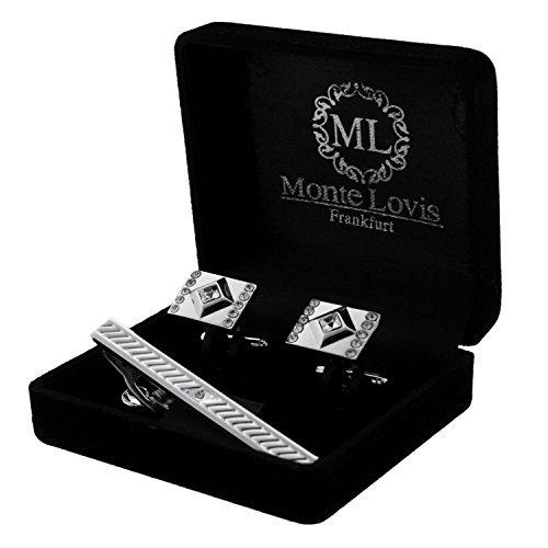Monte Lovis - Edles Herren Set bestehend aus Krawattennadel & Manschettenknöpfe - Hochwertiger Geschenk zum fairen Preis (S60)