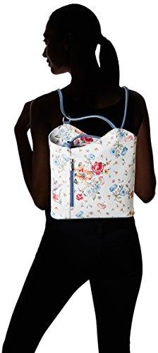 Chicca Borse Damen 80056 Schultertasche, 27x30x9 cm Mehrfarbig (Fiori/blu Jeans)