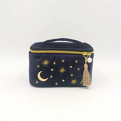 RATWIFE Bolso cosmético Tote Bolso cosmético de Luna Estrella Terciopelo Organizador Bolsa Bolso cosmético Lunar Estrellas Neceser Bolso Bolsa