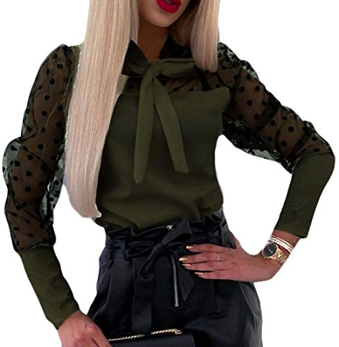 securiuu Womens Bow Tie Neck Long-Sleeves Office Work Chiffon Blouse Shirts Tops Green M -