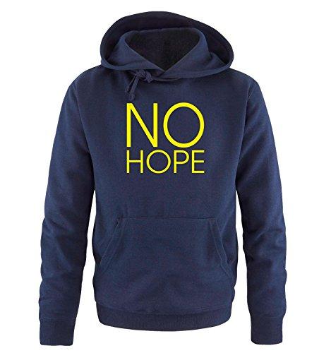 Comedy Shirts - NO HOPE - Uomo Hoodie cappuccio sweater - taglia S-XXL different colors blu navy / neon giallo