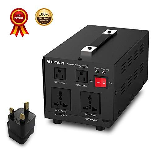 SEYAS 1000W Spannungswandler USA Voltage Converter 220V auf 110V Transformator Automatisch Step Up & Step Down mit U.S. Patent (1000W) Step-down Voltage Converter