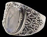 Anillo barroco plata–geshna–piedra de luna–T53