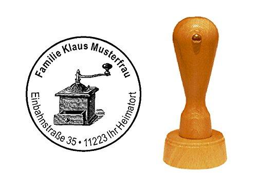 Stempel « KAFFEEMÜHLE » mit persönlicher Adresse und Motiv - Adressenstempel Motivstempel Firmenstempel - Kaffeeröster Coffee Barista