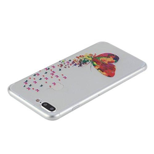 Apple iPhone 7 Plus Hülle,iPhone 7 Plus Transparent Crystal Klar Case,Ekakashop Ultra Dünn Slim Modisch Durchsichtig Ananas Muster Weiche Silikon TPU Flexible Gel Case Crystal Defender Protective Schu Magische Schmetterlinge