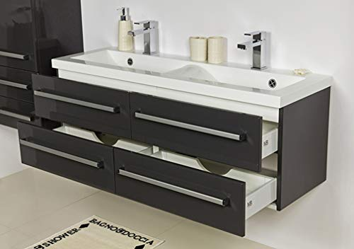 Quentis Doppelwaschplatz Genua 120, Waschplatzset 3-teilig, anthrazit glänzend, 4 Schubladen - 2