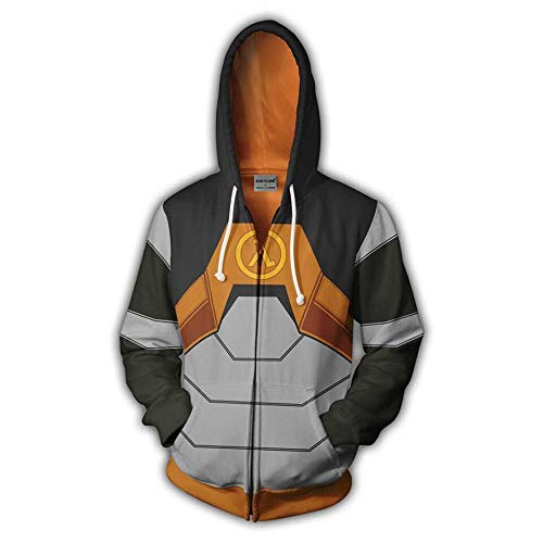Dwygx Unisex Hd 3D Druck Anime Printingsweatshirts Hooded Fashion Freizeitjacke Coat Cardigan Half Life Sweatshirt M (Half Life 2 Kostüm)