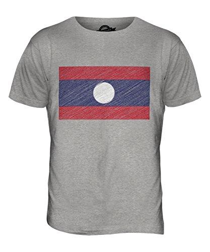 CandyMix Laos Kritzelte Flagge Herren T Shirt Grau Meliert