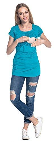 Happy Mama. Femme T-Shirt de Maternité Allaitement Double Couches Col Rond. 136p Aqua