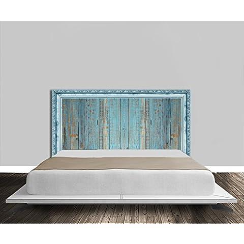 Cabecero de cama de madera, color azul con surcos dorados en papel pintado
