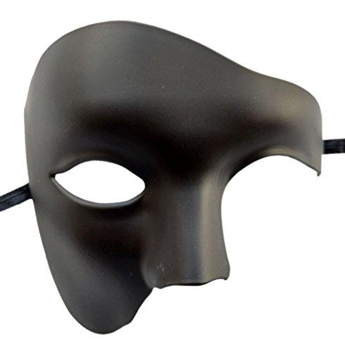 aske Vintage Phantom der Oper ein Augen Half Face Kostüm (Matt Schwarz) (Viel Maskerade Masken)
