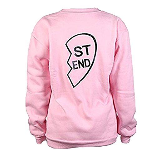 Femmes Sweatshirt Décontractée Arrêtezvous Tops - Dames Chemise Chemisier Imprimé Rond Cou Sweat-Shirts Chemisier Chaud Chemises Rose Black Highdas Rose-STEND
