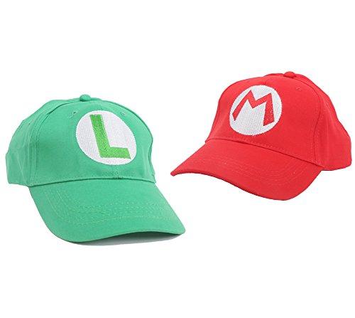 Mario Hut Bros Hat Mario Luigi Sports Baseball Kappe Halloween Cosplay Kostüm Sportbekleidung Rot Grün (Rot+Grün)