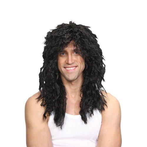80s Rockstar Wig Adults Fancy Dress Glam Rock Rocker Wig Black