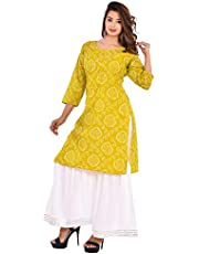 Vrnda Women's Cotton Printed Kurta and Sharara Set For Casual