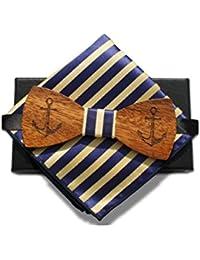 Nœud papillon en bois de fabrication artisanale+ Carré pochette- Marin