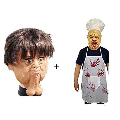 NDGT Latex Kopfmaske-Gruselige Gruselige Horror Neuheit Maske für Halloween Kostüm Party Karneval für Erwachsene,A+B