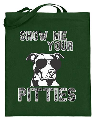 Show Me Your Pitties - Pitbull mit Sonnenbrille - Jutebeutel (mit langen Henkeln) -38cm-42cm-Grün