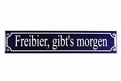 Strassenschild Freibier, gibt's morgen 40x8 cm Emaille Kneipenschild Emaile Schild Türschild