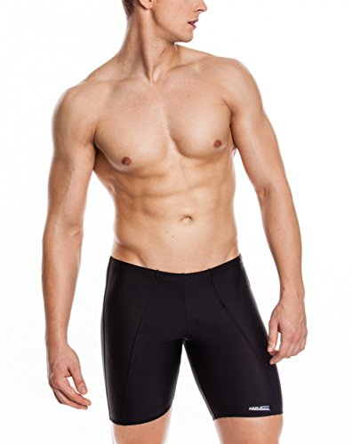 AQUA-SPEED® LONG Maillots de bain de Hommes (Performance Serrée Protection UV Résistant au chlore) Black