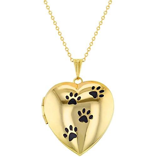In Season Jewelry - Herz Medaillon Anhänger Halskette Meine Hund Pfotenspuren Tier Lieben Foto 48cm