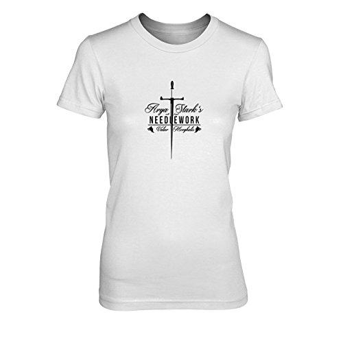 Arya Kostüm 5 Staffel - GoT: Needlework - Damen T-Shirt, Größe: XL, Farbe: weiß