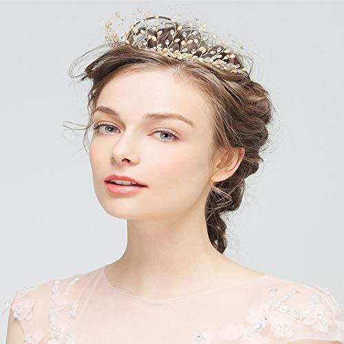n Haarschmuck Braut Für Hochzeit, Krone, Tiara Mit Kristall, Für Damen, Mädchen Erwachsene Zeremonie Champagner Gold ()
