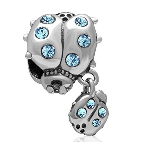 Soulbead, charm in argento sterling 925a forma di coccinella e pendente più piccolo, con brillantini, per braccialetto compatibile aquamarine crystal