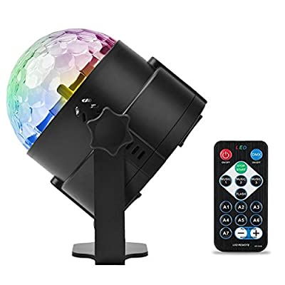 [2rd Generation] Party DJ LED Lights Mini Disco Ball - Vnina 3w 7 colors Stage Strobe RGB Lighting effect Magic Rotating Ball with Sound Actived/Flash by Remote Control for Birthday Party DJ Bar Karaoke Club Xmas Halloween Wedding show