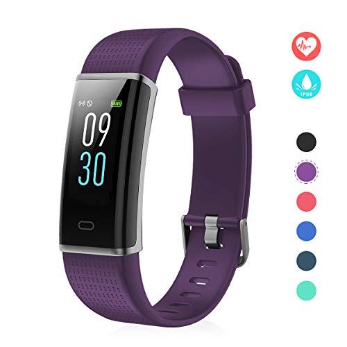 EFO SHM Fitness Tracker mit Pulsmesser, Schrittzähler Uhr Fitness Armband Wasserdicht Schwimmen Aktivitätstracker Schlafanalyse Kalorienzähler Anruf/SMS Kompatibel mit iPhone und Android(Lila)