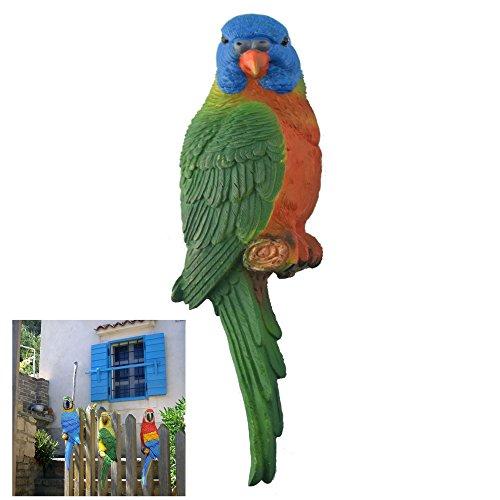 Wellensittich/Papagei 31 cm - rechts grün/ocker - blauer Kopf - für Zaun, Wand und Balkon. Eine schöne Zaunfigur, Zaunhocker, Zaungast oder Deko Dekoration Gartenfigur. (Grün Papagei)