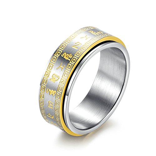 Beydodo Titan Ring Männer Rund Buddhismus Partnerring Punk Ring Gold Gr.60 (19.1)