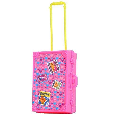 Preisvergleich Produktbild 1x Rosa Kunststoff 3D Reise Zug Koffer Gepäck Für Barbie-puppe Dekor (Nicht Mattel) von Fat-catz-copy-catz