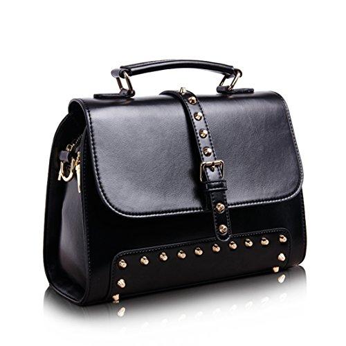 Moderne Damen Mädchen Schultertaschen PU Leder Messengerbags Satchel Schulter Handtasche mit Nieten (Rot) Kaxidy 59626pX