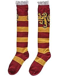 NJ SCREENPRINTS Calcetines de Harry Potter hasta la Rodilla Cresta de Gryffindor con Volante 39-