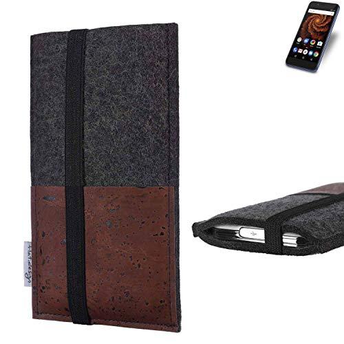 flat.design Handy Hülle Sintra für Allview X4 Soul Mini S Handytasche Filz Tasche Schutz Kartenfach Case braun Kork
