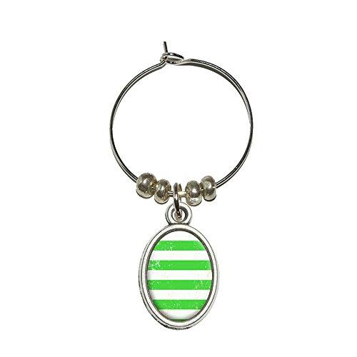 Vintage Nautischen Streifen grün Wein Glas Oval Charm Drink Marker (Streifen Grüne Wein)