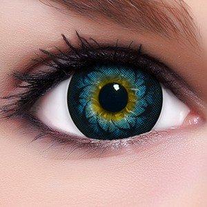 Linsenfinder Lenzera Circle Lenses blaue 'Glamour Blue' ohne und mit Stärke + Kombilösung + Behälter 15mm Big Eyes farbige Kontaktlinsen