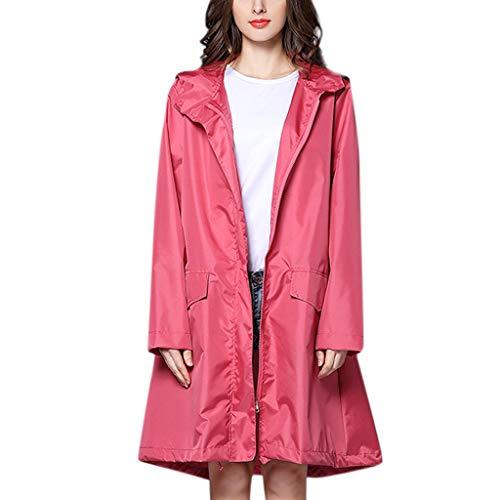IZHH Mode Damen Regenjacke, Kapuze Einfarbig Mantel Feste Taschen Winddicht Freien Outwear Wasserdichte Splice Windjacke Regenbekleidung(Rosa,Medium)
