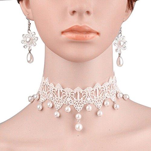 VORCOOL Moda Donna Delicata Di Fiori Da Sposa MatrimonioDecor Collana Con Orecchini Di Perle