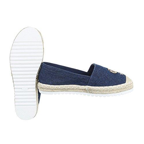 Damenschuhe Moderne 355 top Ital Cv Blau Slipper design Low Halbschuhe aOUwgd