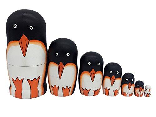 Happy Cherry 7pcs Handgemachte DIY Hölzerne Russische Verschachtelungs Süß Pinguin Puppen Traditionelle Nesting Wishing Puppen Cartoon Matroschka Tier Matroschka 18.5 * 9 CM
