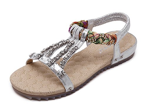 Minetom Damen Mädchen Mode Sommer Sandalen Strandschuhe Böhmische Stil Strass Peep Toe Flache Schuhe Silber